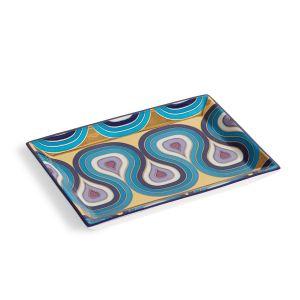 Milano Rectangle Tray - Blue/Gold