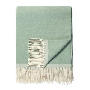 Klassisk lammeullspledd m/ frynser - Soft Green