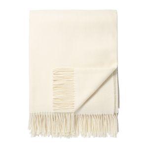 Klassisk lammeullspledd m/ frynser - Off White
