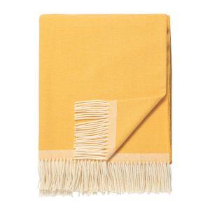 Klassisk lammeullspledd m/ frynser - Yellow