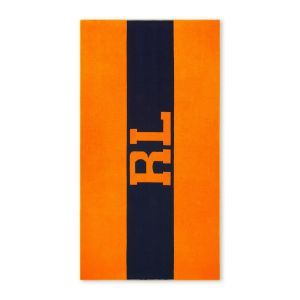 RL Signature Beach Towel - Navy/Orange