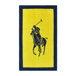 Polo Jacquard Beach Towel - Yellow/Navy